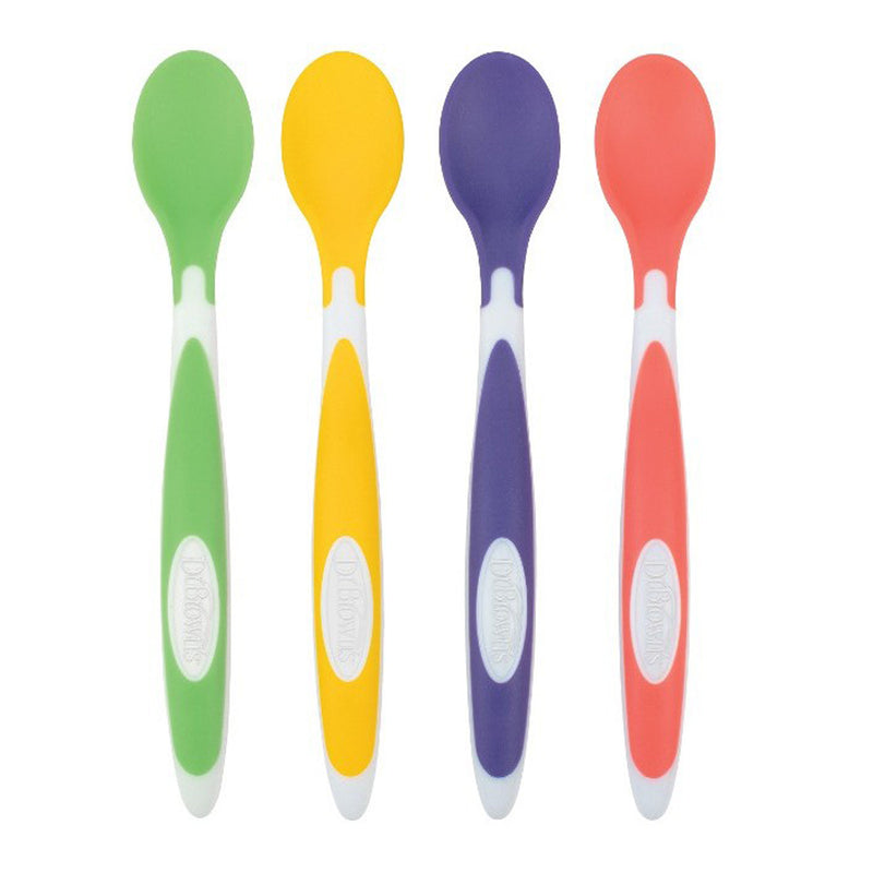 Dr Brown's Soft-Tip Spoon, 4-Pack (Yellow, Green, Purple, Red)