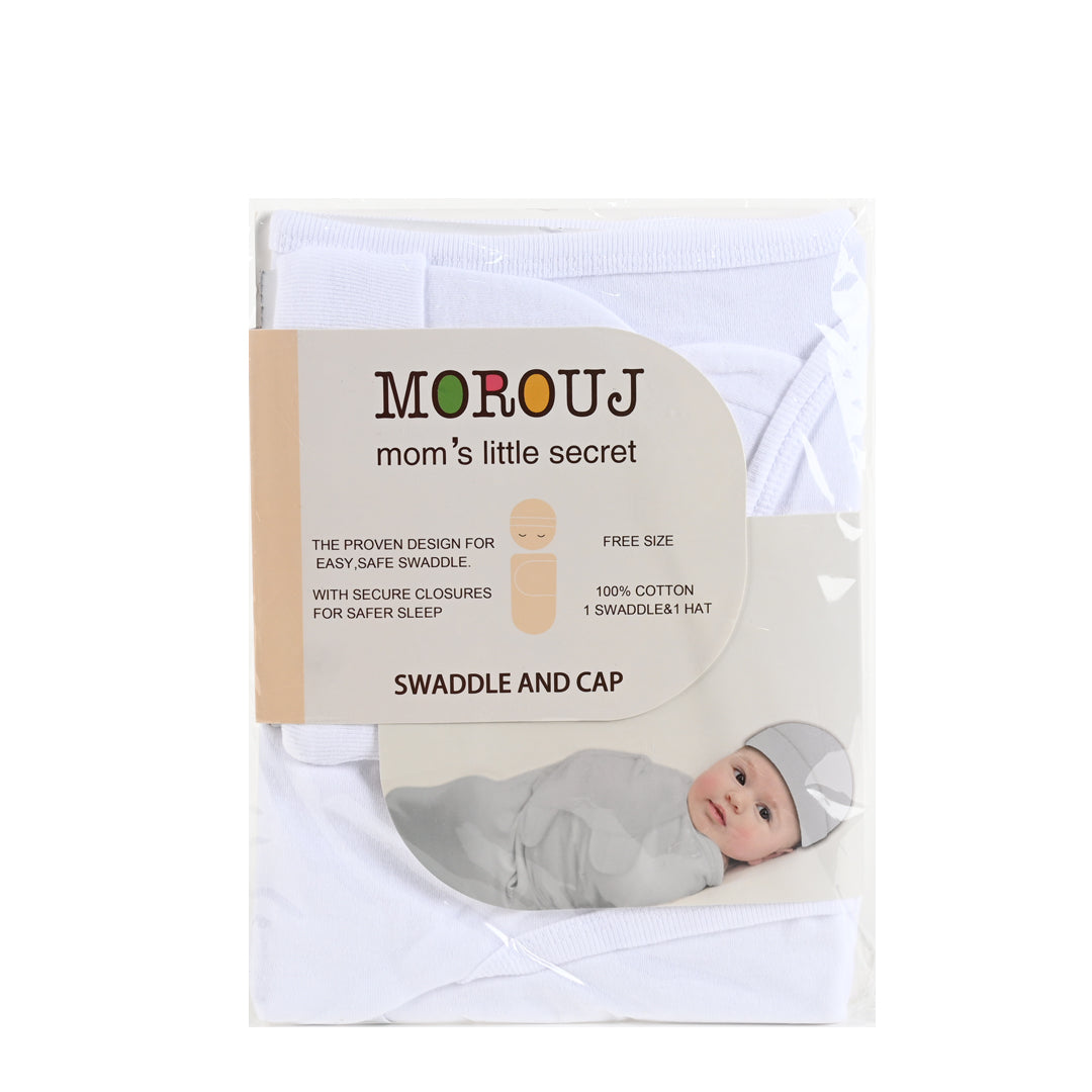 Swaddle and Cap Set, White