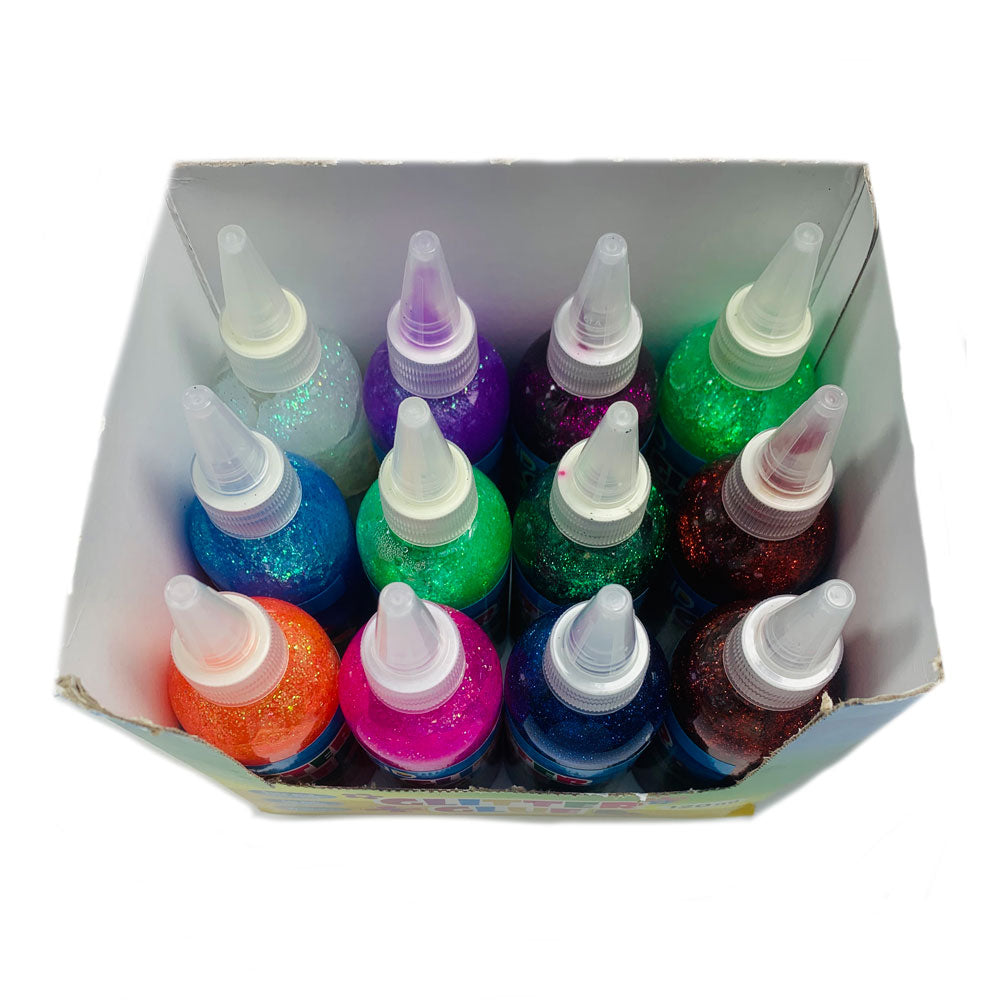 Glitter Glue Asorted Colours 120ml, Assorted Colors