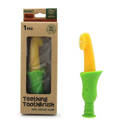Haakaa Silicone Teething Toothbrush with suction stand - Corn