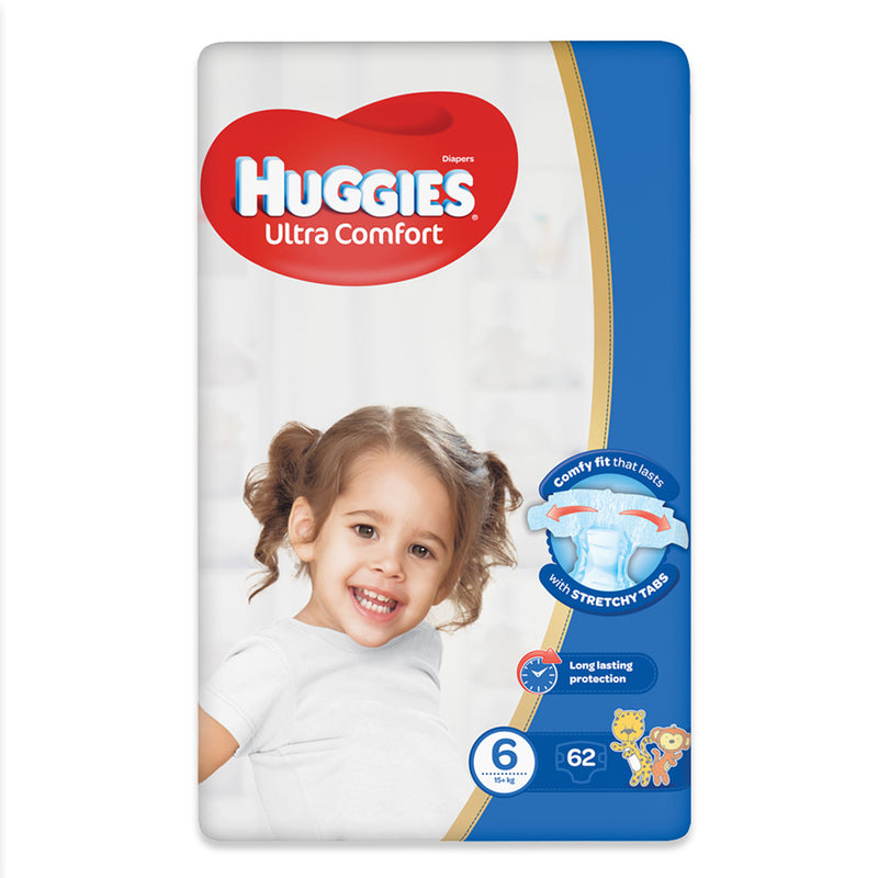 Huggies Ultra Comfort Diapers Size 6 (15+ kg) 62 Pieces