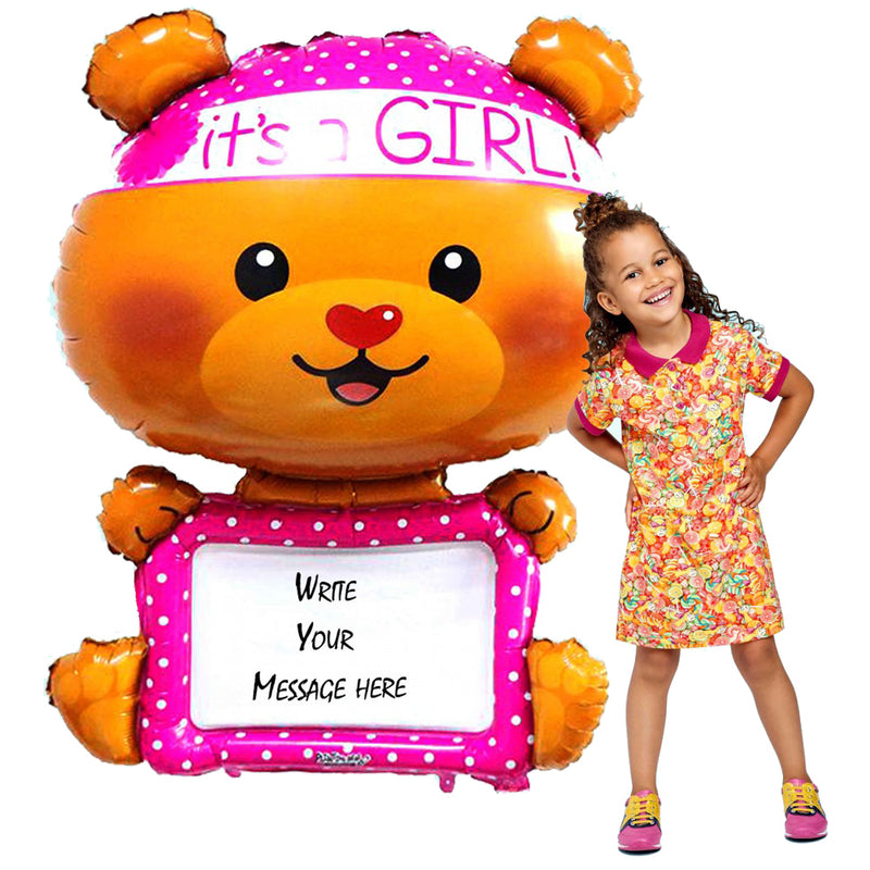 It's a Girl Bear Balloons, 46 Inch - inflated helium