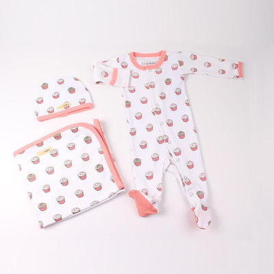 L'ovedbaby Organic Cotton 3-Piece Layette Set - Coral Cupcake