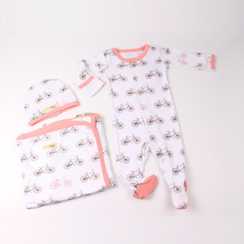 L'ovedbaby Organic Cotton Coral Bicycle 3 Pieces Set