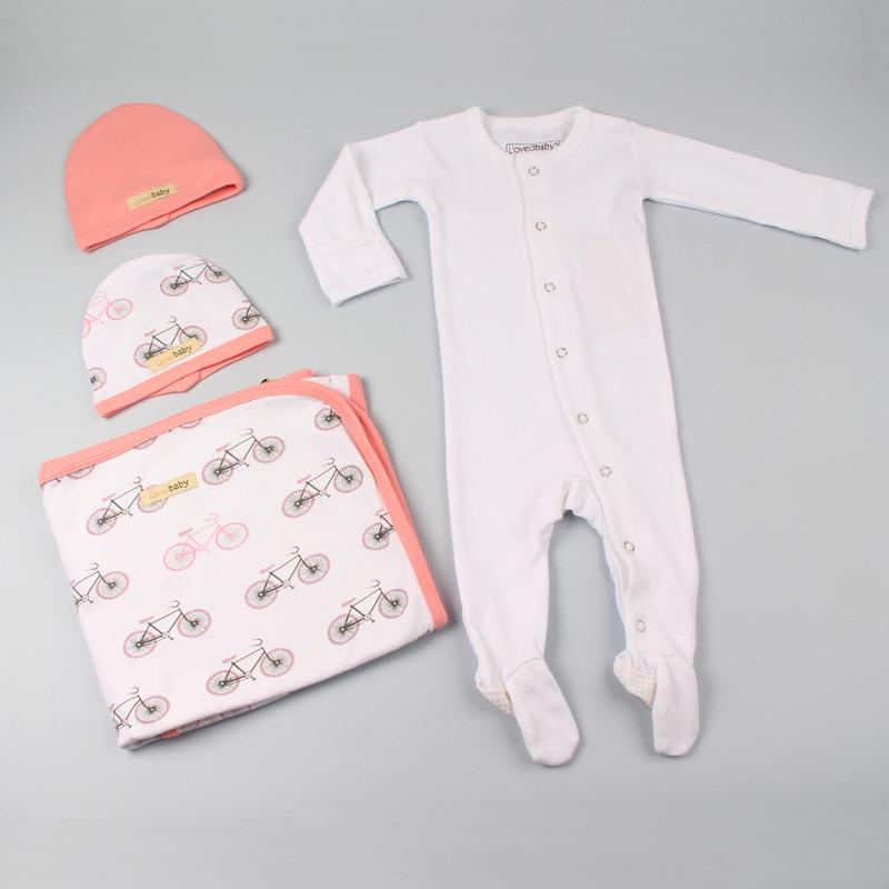 L'ovedbaby Organic Cotton Coral Bicycle 4 Pieces Set
