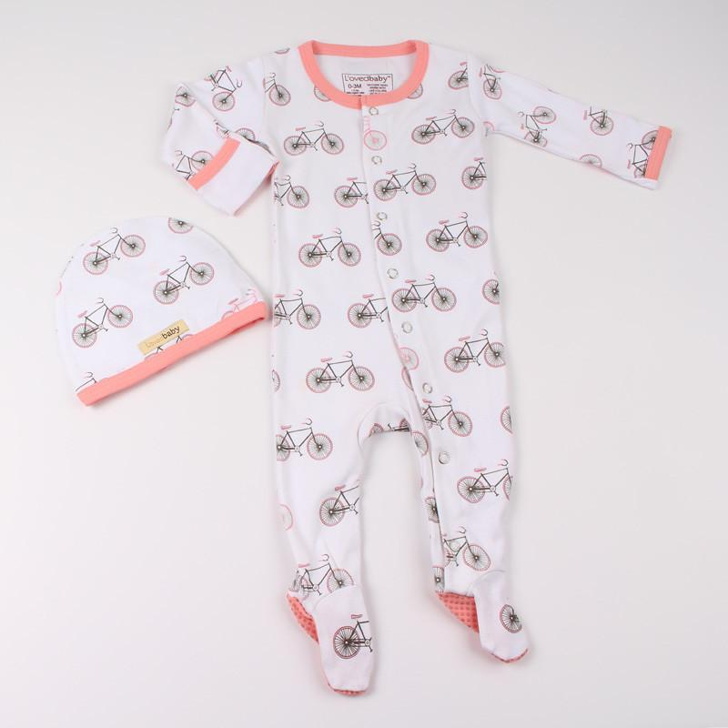 L'ovedbaby Organic Cotton 2-Piece Prints Layette Set - Coral Bicycles