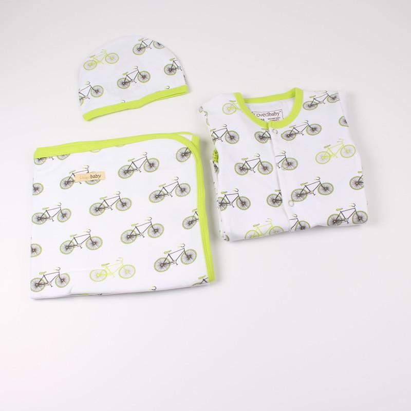 L'ovedbaby Organic Cotton 3-Piece Layette Set - Lime Bicycle