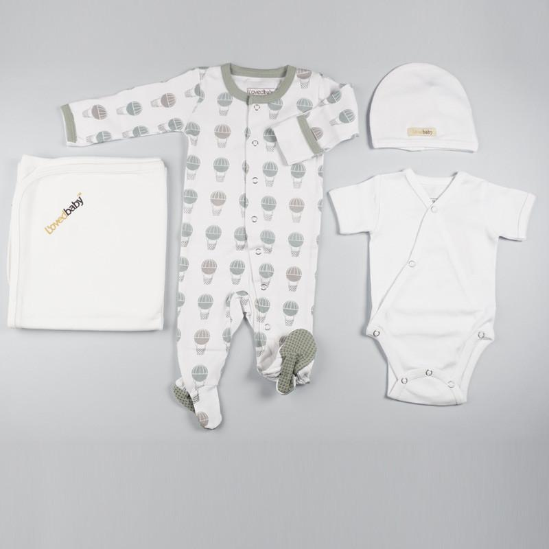 L'ovedbaby Organic Cotton 4-Piece White Layette Set with Prints Pajama
