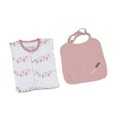 L'ovedbaby Organic Cotton 2 Pieces Set - Mauve Heart