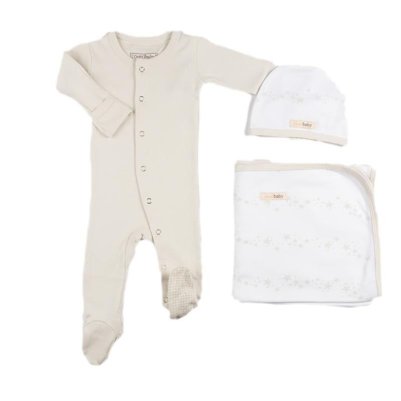 L'ovedbaby Organic Cotton 3-Piece Layette Set Beige Solid Pajama with Stars Swaddle and Cap