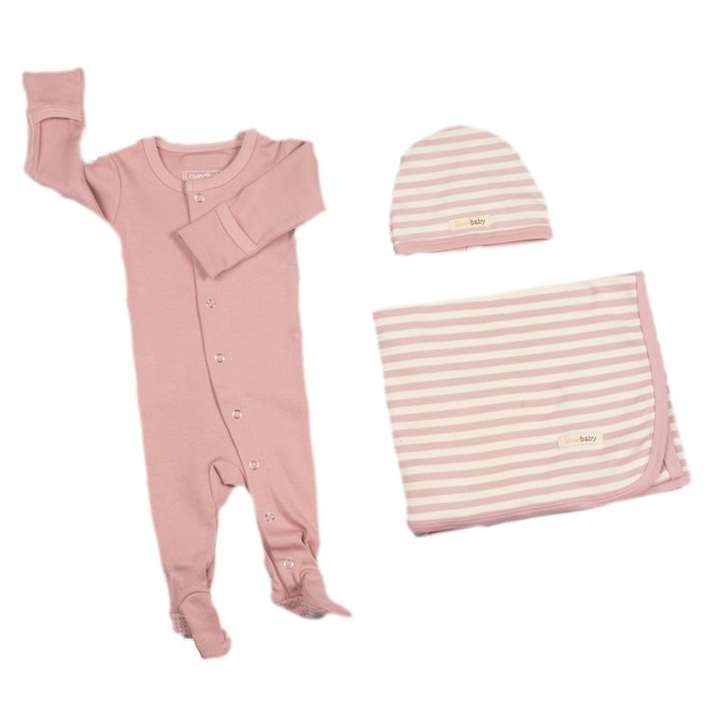 L'ovedbaby Organic Cotton 3-Piece Layette Set Mauve Solid Pajama with Striped Swaddle and Cap