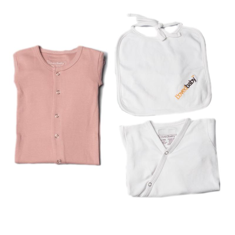 L'ovedbaby Organic Cotton 3-Piece Pink Layette Set