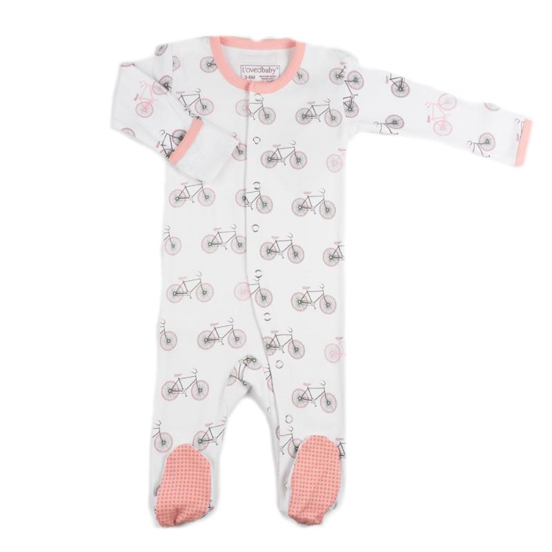 L'ovedbaby Organic Cotton Sleepsuit - Coral Bicycle