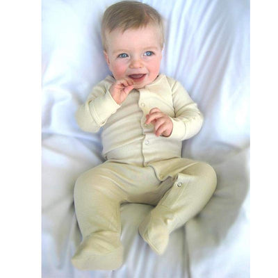 L'ovedbaby Organic Cotton Sleepsuit Gloved Sleeve - Beige