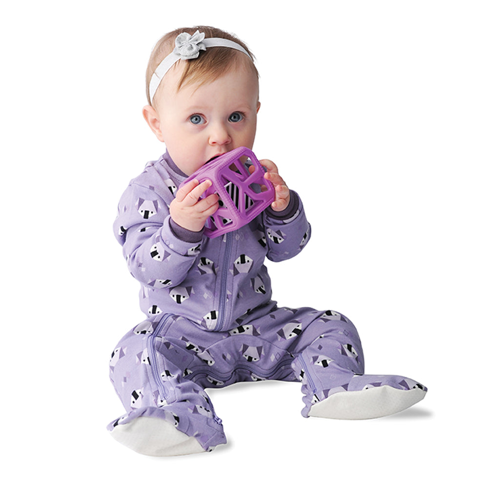 Chew Cube Easy Grip Teether Rattle - Purple