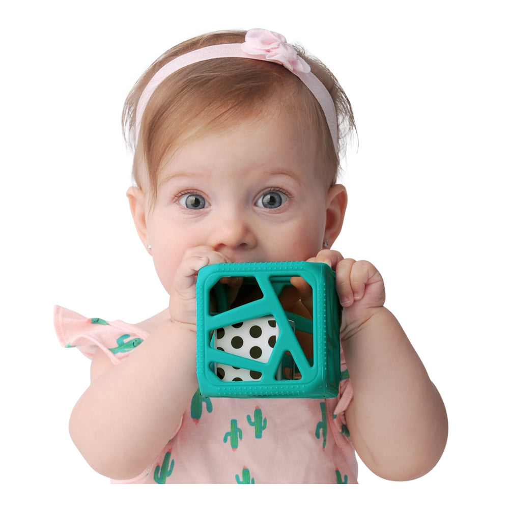 Chew Cube Easy Grip Teether Rattle - Turquoise