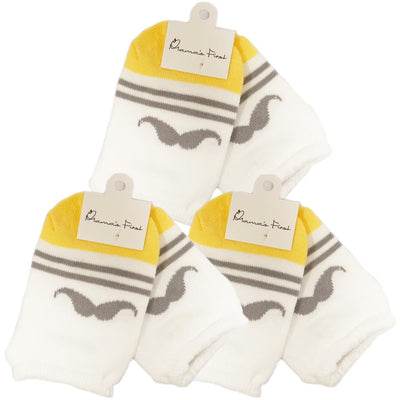 Mama's First Non-Slip Socks - Mr Mustache, Pack of 3