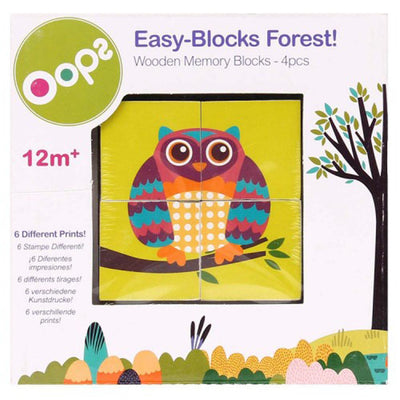 Oops WOODEN MEMORY BLOCKS 4 PCS FOREST, 12 Months+