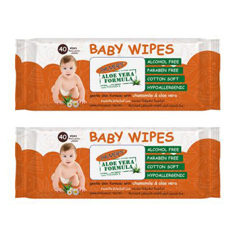 PALMERS BABY WIPES 40S TWIN