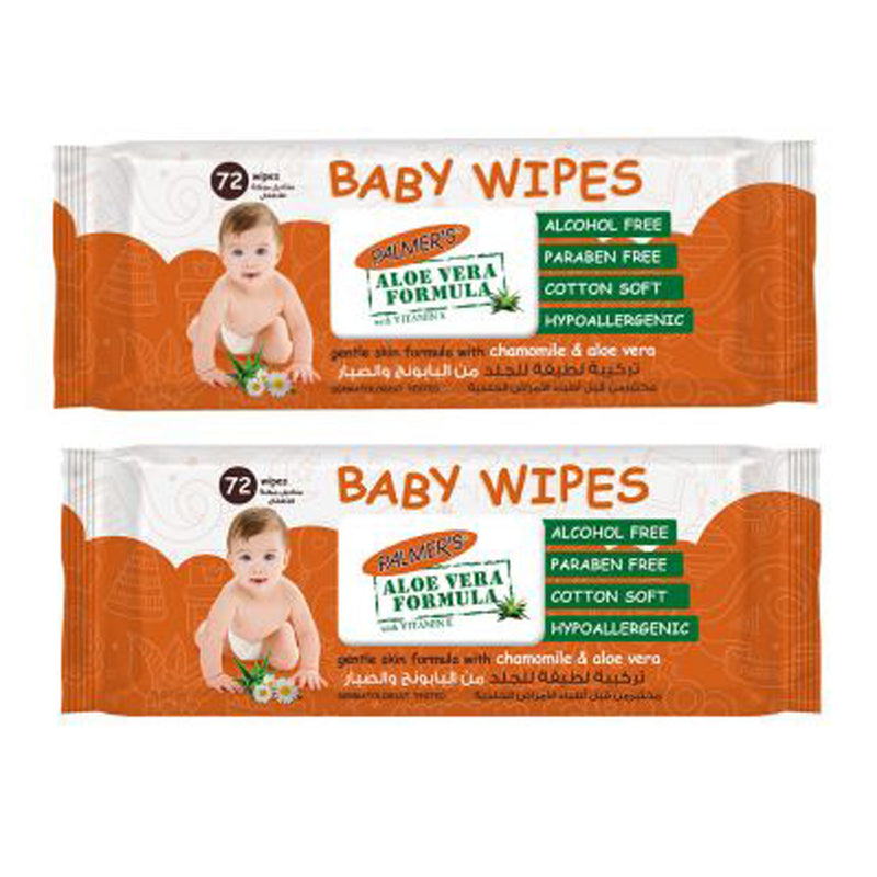 PALMERS BABY WIPES 72S TWIN