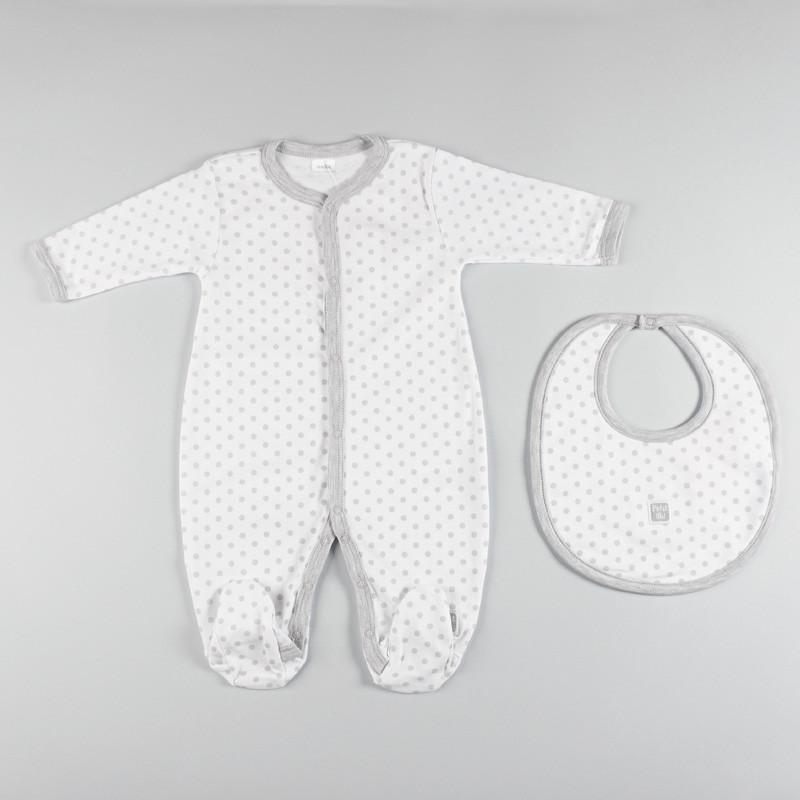Petit oh! 2-Piece Dotted Layette Set - Grey