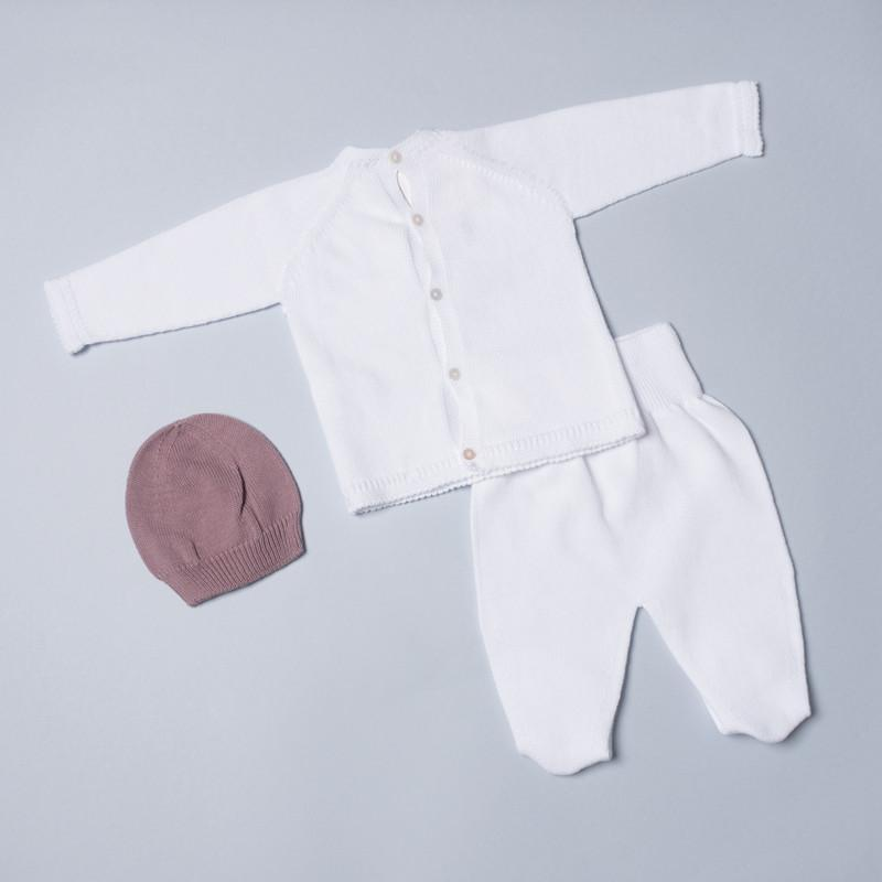 Petit Oh! Pima Cotton 3-Piece Lace Tie front Knitted Set - White