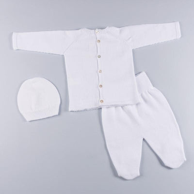 Petit Oh! White Pima Cotton 3-Piece Round Neck Knitted Set