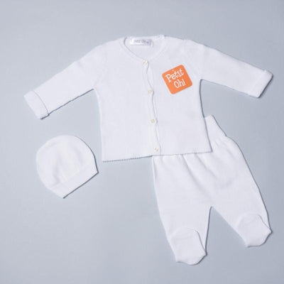 Petit Oh! 2-Piece Knitted Cardigan Set - White