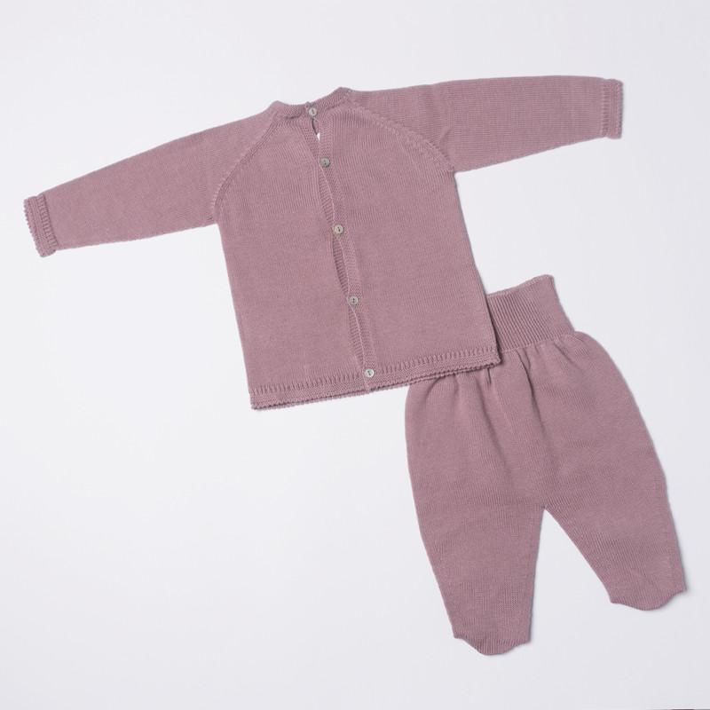 Petit Oh! Pima Cotton 2-Piece Lace Tie Knitted Set, Mauve