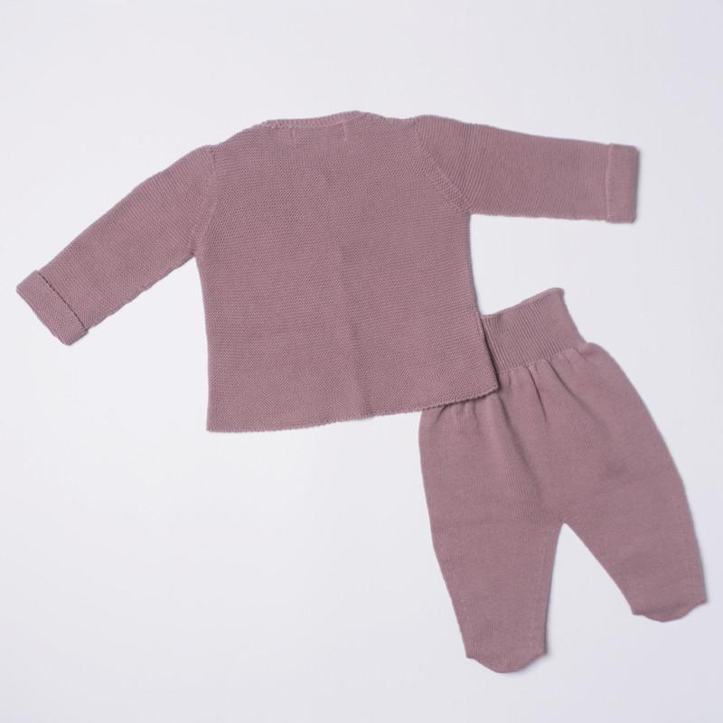 Petit Oh! 2-Piece Knitted Cardigan Set - Mauve