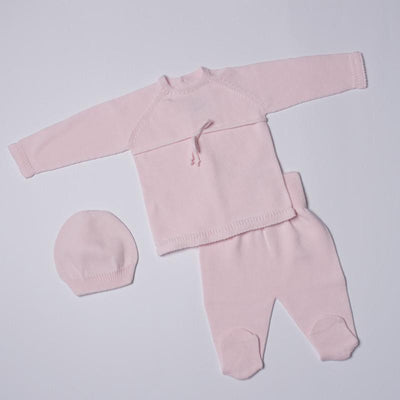 Petit Oh! Pima Cotton 3-Piece Lace Tie front Knitted Set - Pink