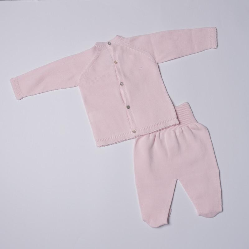 Petit Oh! Pima Cotton 2-Piece Lace Tie Knitted Set - Pink