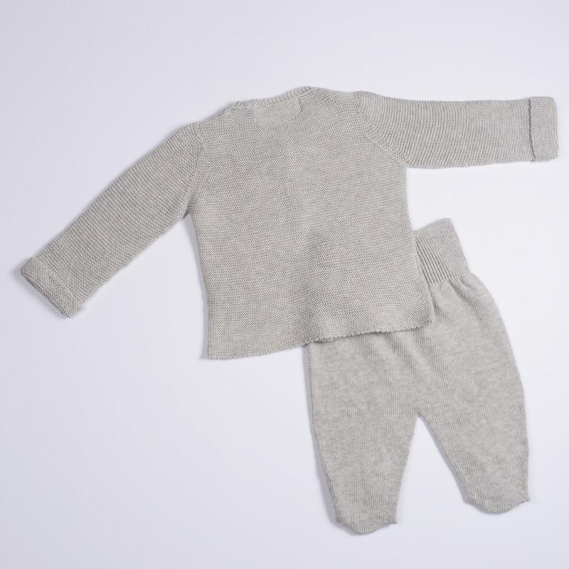 Petit Oh! 2-Piece Knitted Cardigan Set - Grey