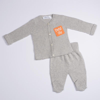 Petit Oh! Pima Cotton 2-Piece Knitted Cardigan Set - Grey