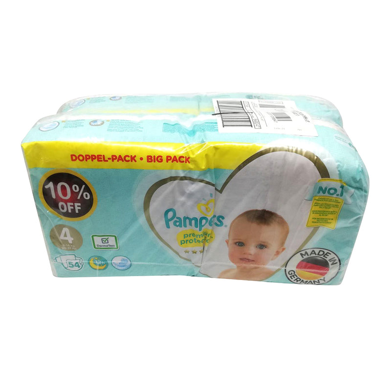 Pampers - Premium Care - Size 4 - (108 Diapers - Promotion 2 Bags of 54 pieces)