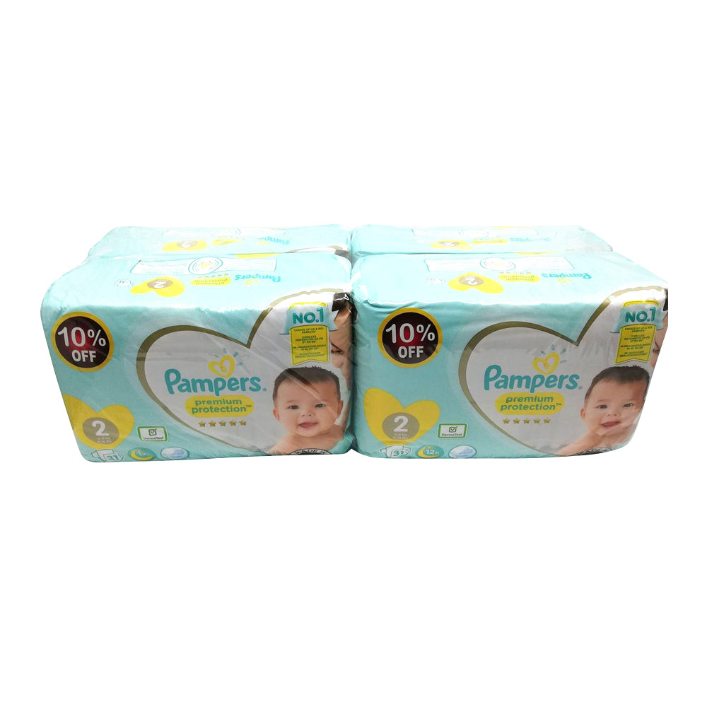 Pampers - Premium Care - Size 2- Promotion (124 Diapers - 4 Bags Each 31 Diapers)