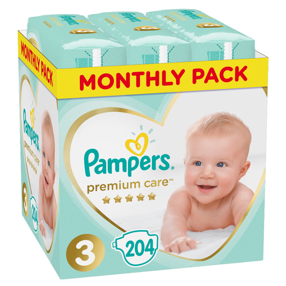 Pampers Premium Care Baby Diapers Size 3 - 204 pieces