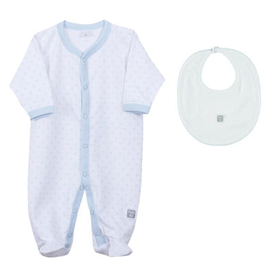 Petit Oh! Pima Cotton 2-Piece Blue Dotted Pyjama and a plain bib Set