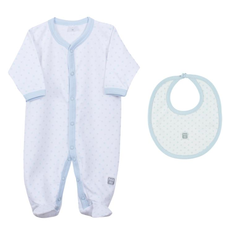 Petit Oh! Pima Cotton 2-Piece Dotted Layette Set - Blue