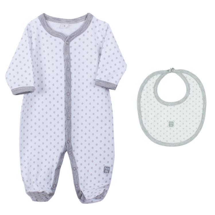 Petit Oh! Pima Cotton 2-Piece Dotted Layette Set - Grey