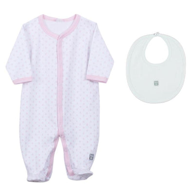 Petit Oh! Pima Cotton 2-Piece Pink Dotted Pyjama and a plain bib Set