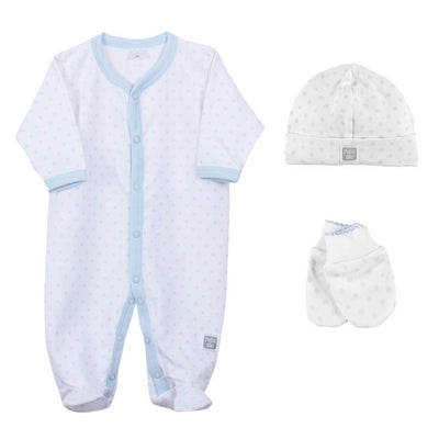 Petit Oh! Pima Cotton 3-Piece Dotted Layette Set - Blue