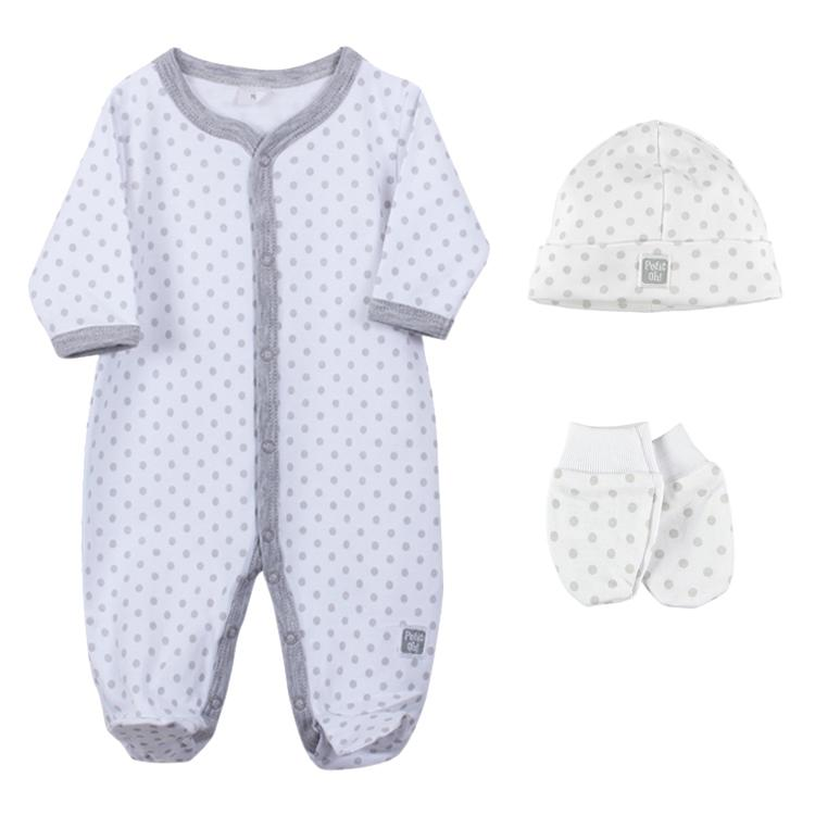 Petit Oh! Pima Cotton 3-Piece Dotted Layette Set - Grey