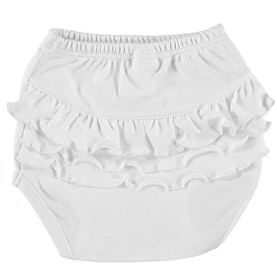 Petit Oh! Pima Cotton Nappy cover with flounces - White