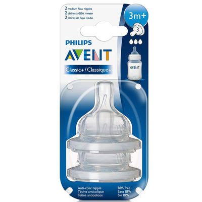 Philips Avent Classic+ Medium Flow Nipple 3 Months+ Pack Of 2