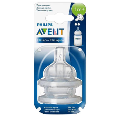 Philips Avent Classic+ Slow Flow Nipple 1 Month+ Pack Of 2