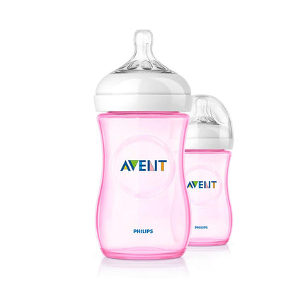 Philips Avent Natural Feeding Bottle, PINK 260Ml Pack of 2