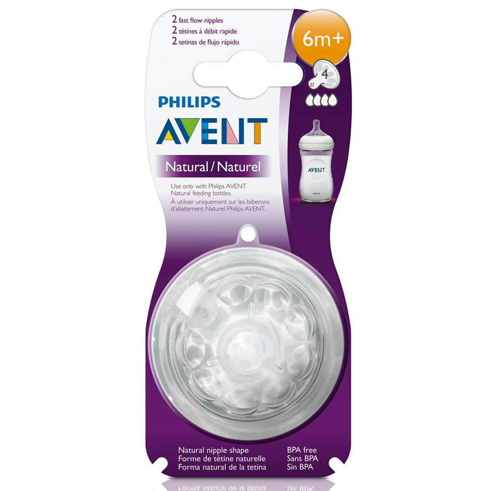 Philips Avent Natural Feeding Nipple Fast flow 6 Months+ Pack of 2