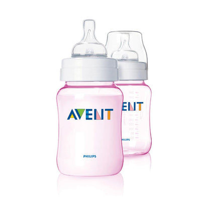 Philips Avent Classic+ Bottle, Pink 260Ml Pack of 2