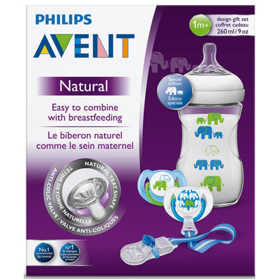 Philips Avent Natural Deco Design Bottle 260ml Gift Set - Blue